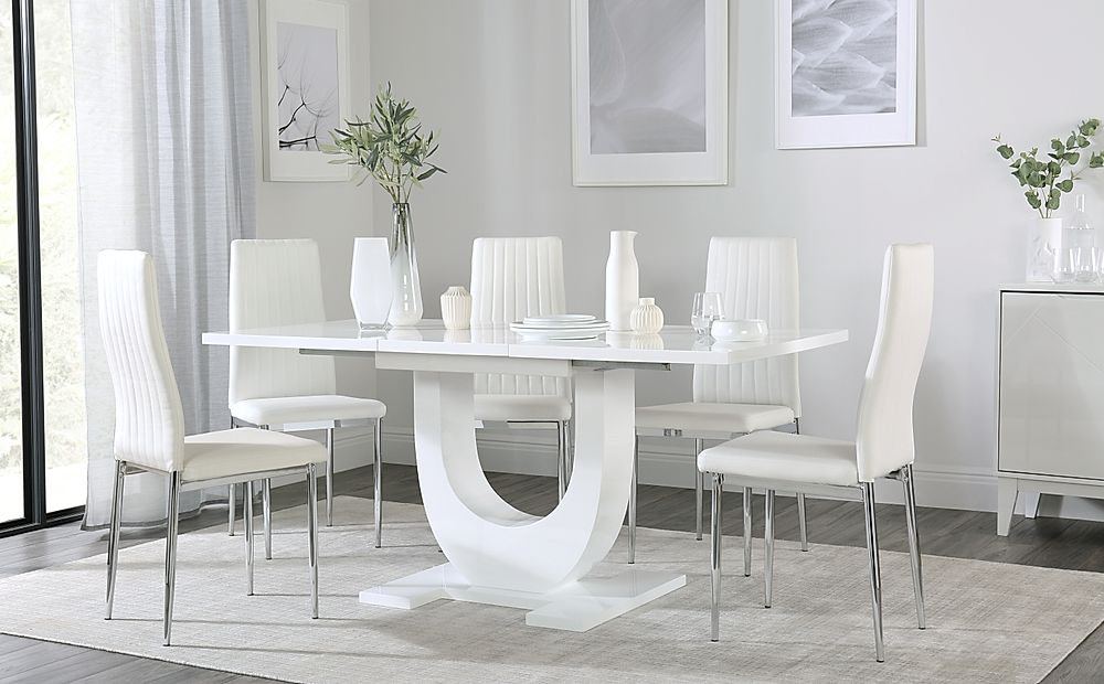 Oslo White High Gloss Extending Dining Table with 6 Leon White Dining Chairs