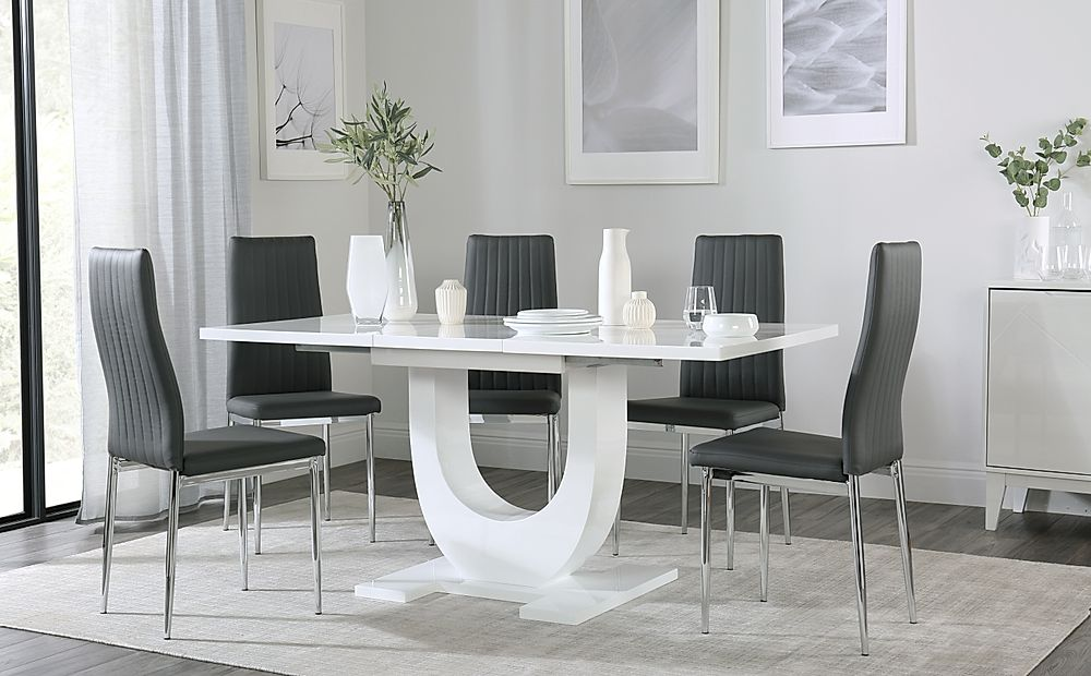 Oslo White High Gloss Extending Dining Table with 6 Leon Grey Dining Chairs