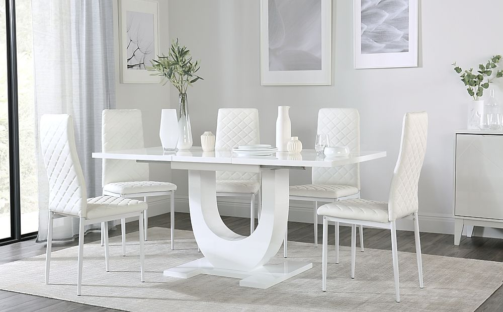 Oslo White High Gloss Extending Dining Table with 4 Renzo White Dining Chairs (White Legs)