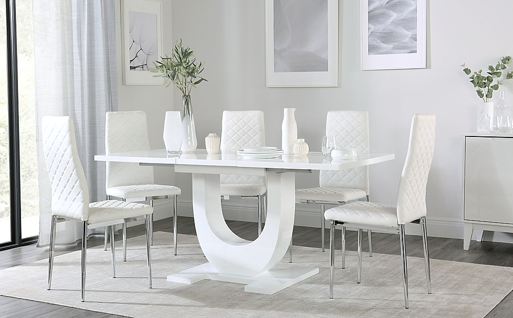 Oslo White High Gloss Extending Dining Table with 4 Renzo White Leather Chairs