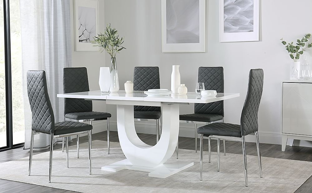 Oslo White High Gloss Extending Dining Table with 4 Renzo Grey Dining Chairs