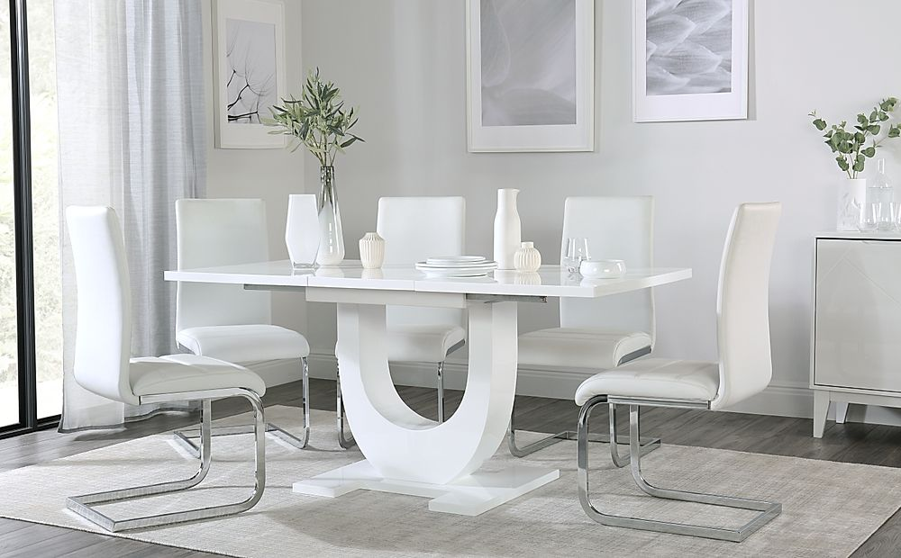 Oslo White High Gloss Extending Dining Table with 4 Perth White Leather Chairs