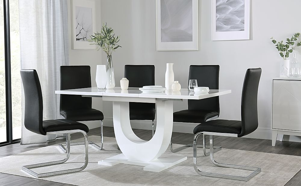 Oslo White High Gloss Extending Dining Table with 6 Perth Black Dining Chairs