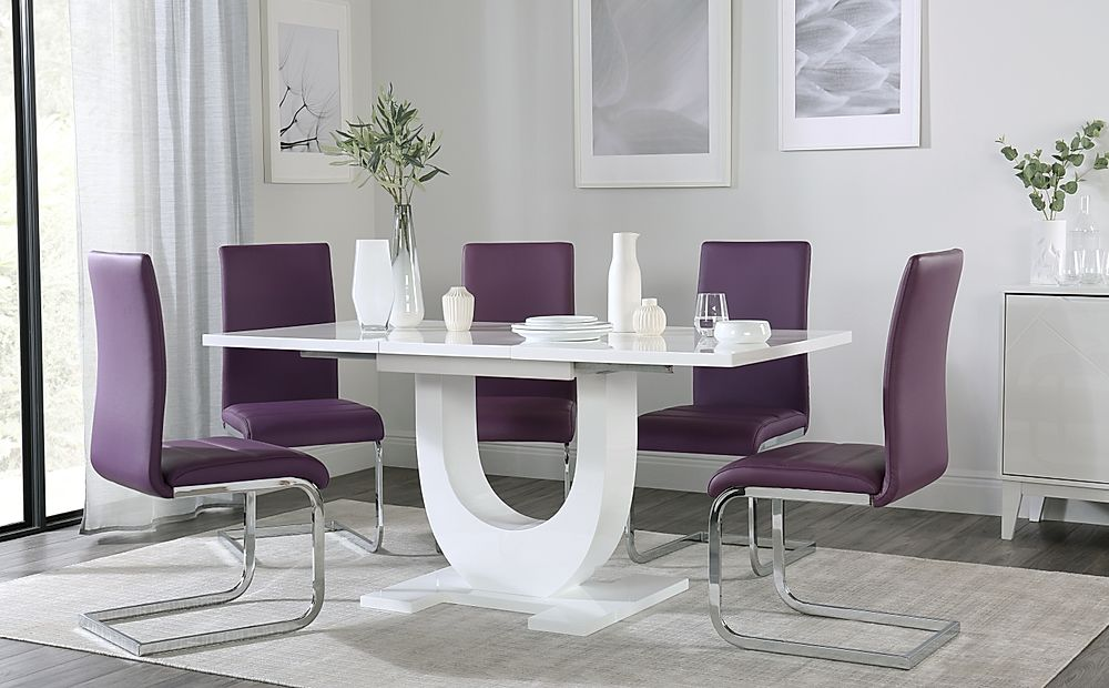 Oslo White High Gloss Extending Dining Table with 6 Perth Purple Dining Chairs