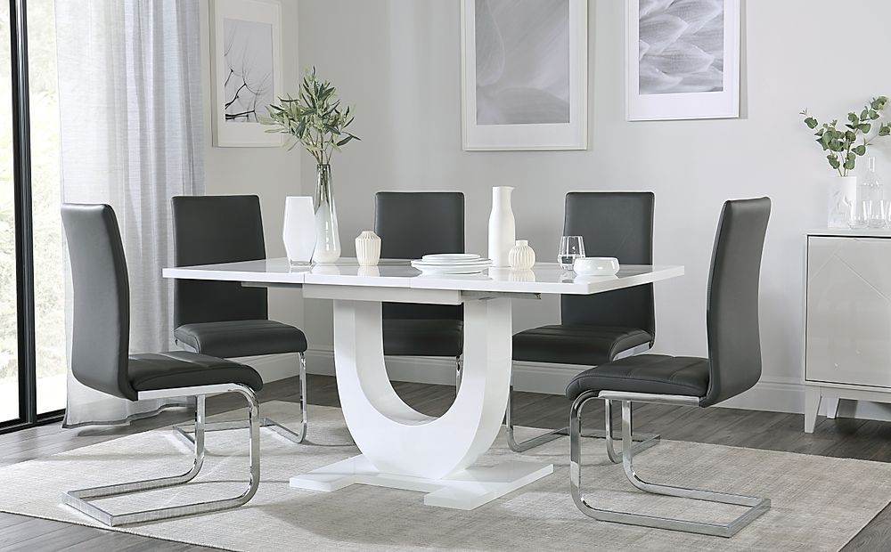 Oslo White High Gloss Extending Dining Table with 6 Perth Grey Leather Chairs