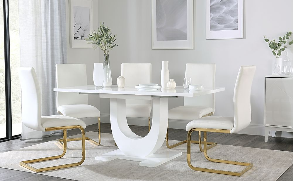 Oslo White High Gloss Extending Dining Table with 4 Perth White Dining Chairs (Gold Leg)