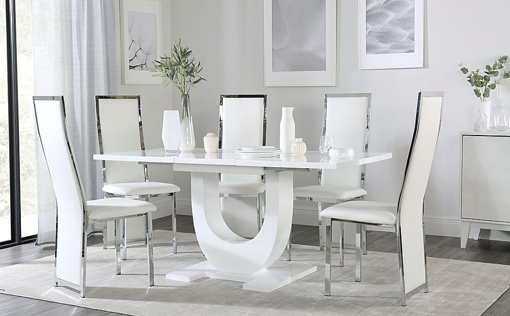 Oslo White High Gloss Extending Dining Table with 6 Celeste White Leather Chairs