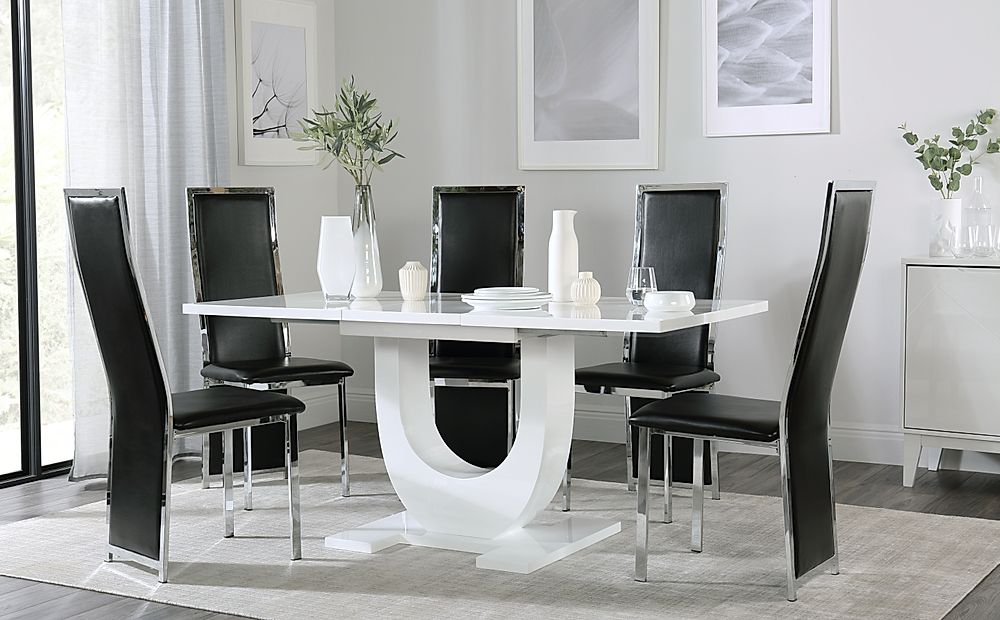 Oslo White High Gloss Extending Dining Table with 6 Celeste Black Leather Chairs