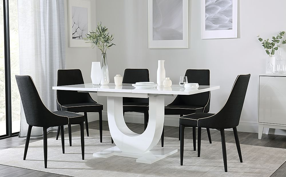 Oslo White High Gloss Extending Dining Table with 4 Modena Black Fabric Chairs