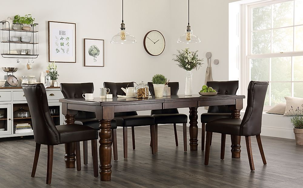 Hampshire Dark Wood Extending Dining Table with 4 Bewley Brown Leather Chairs