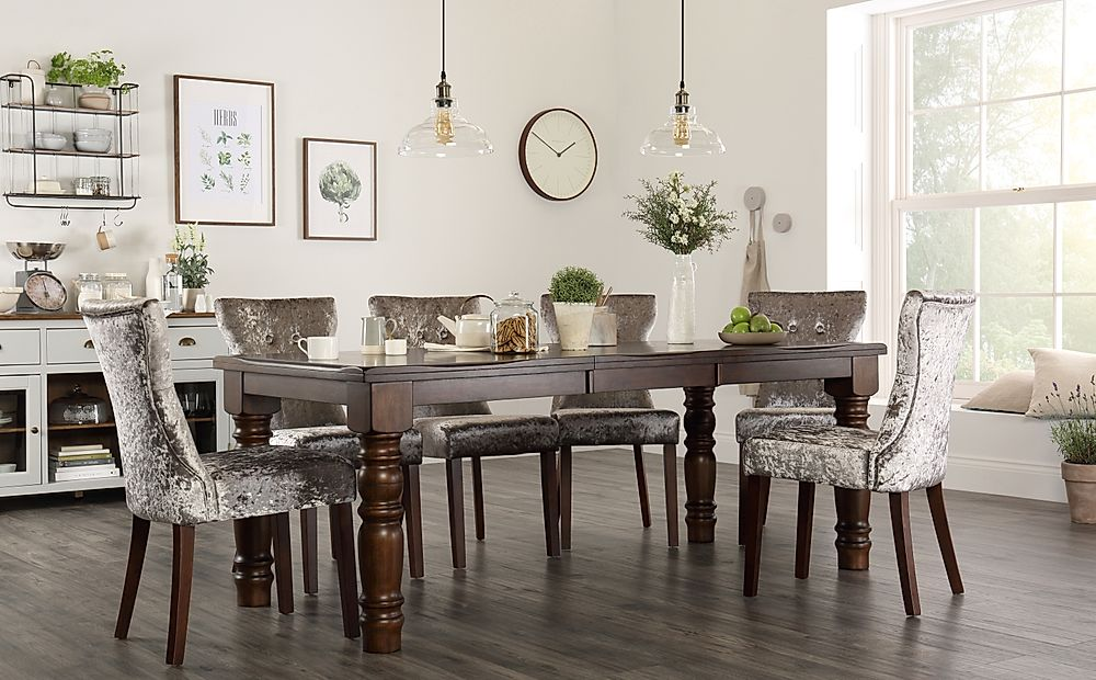 Hampshire Walnut Extending Dining Table with 4 Bewley Silver Velvet Chairs