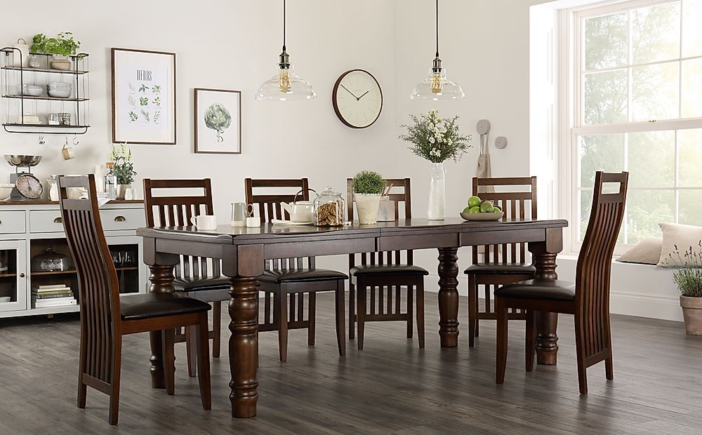 Hampshire Dark Wood Extending Dining Table with 4 Java Chairs (Brown Leather Seat Pads)