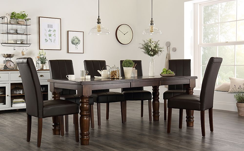 Hampshire Dark Wood Extending Dining Table with 6 Carrick Brown Leather Chairs