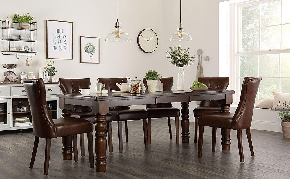 Hampshire Dark Wood Extending Dining Table with 6 Bewley Club Brown Leather Chairs