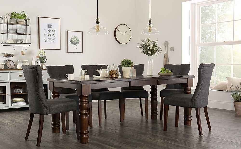 Hampshire Dark Wood Extending Dining Table with 6 Bewley Slate Fabric Chairs