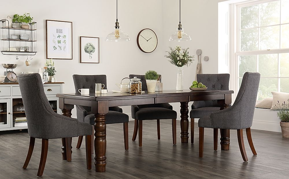 Hampshire Dark Wood Extending Dining Table with 6 Duke Slate Fabric Chairs