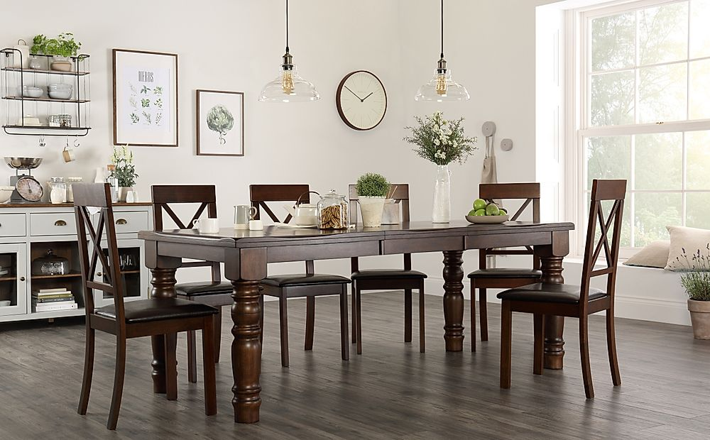 Hampshire Walnut Extending Dining Table with 6 Kendal Chairs (Brown Seat Pad)