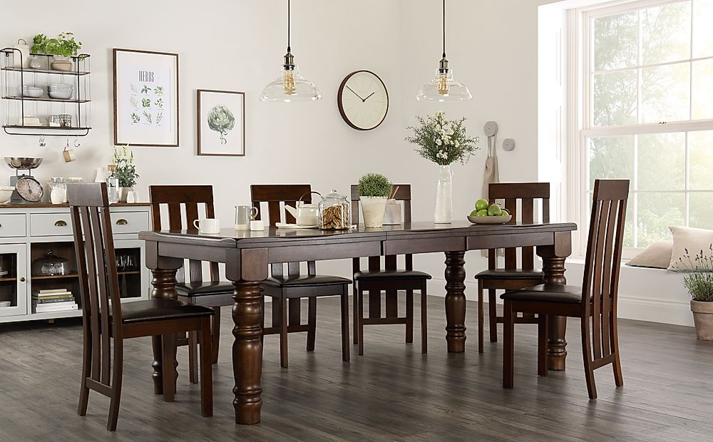 Hampshire Dark Wood Extending Dining Table with 6 Chester Chairs (Brown Leather Seat Pad)