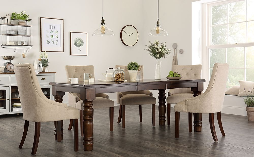 Hampshire Walnut Extending Dining Table with 8 Duke Oatmeal Chairs
