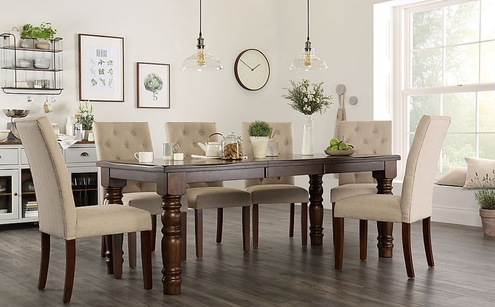 Hampshire Walnut Extending Dining Table with 8 Hatfield Oatmeal Chairs
