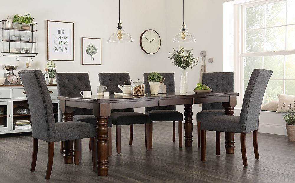 Hampshire Walnut Extending Dining Table with 8 Hatfield Slate Chairs