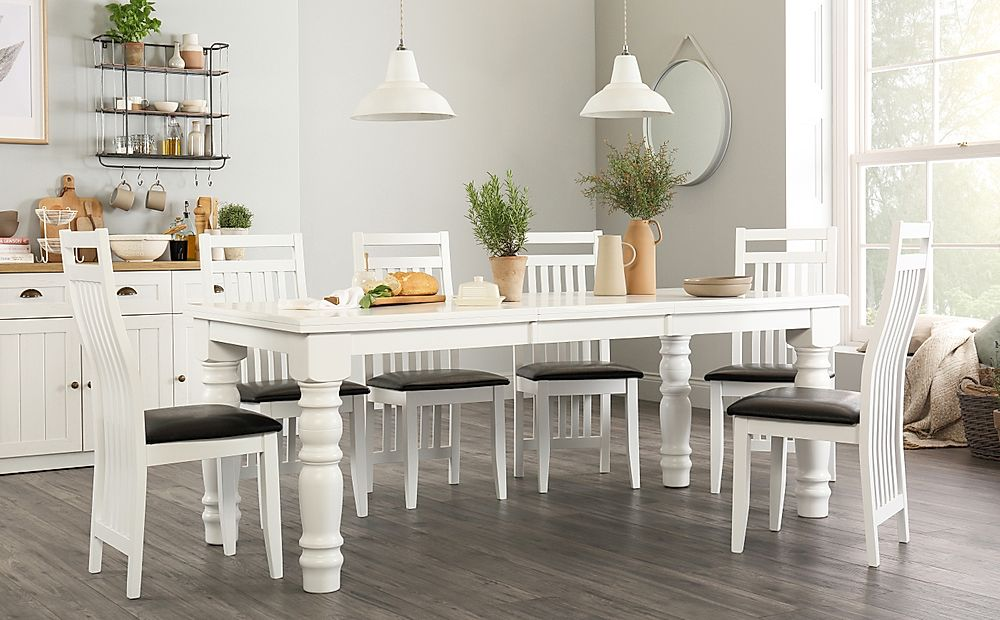 Hampshire White Extending Dining Table with 4 Java Chairs