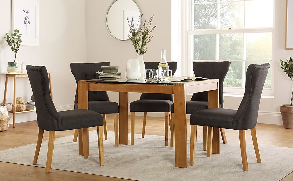 Tate 120cm Oak and Glass Dining Table with 4 Bewley Slate Fabric Chairs