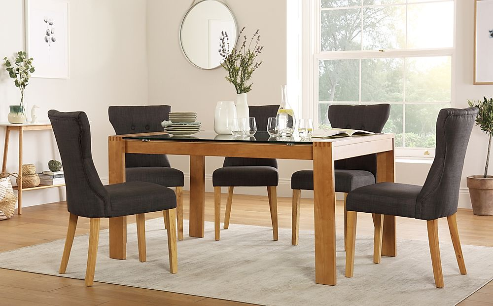 Tate 150cm Oak and Glass Dining Table with 4 Bewley Slate Fabric Chairs