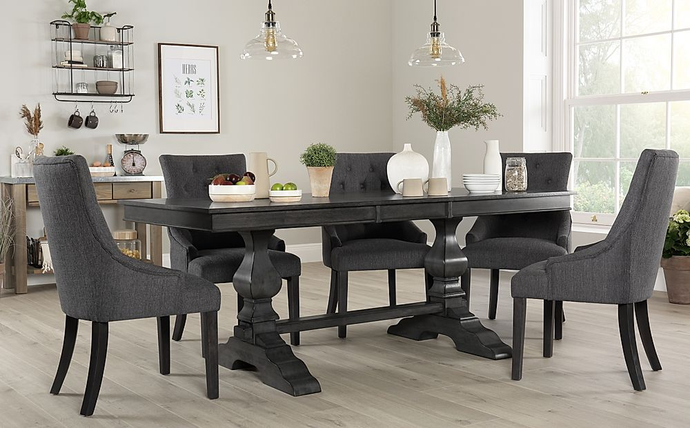 Cavendish Grey Wood Extending Dining Table with 6 Duke Slate Fabric Chairs