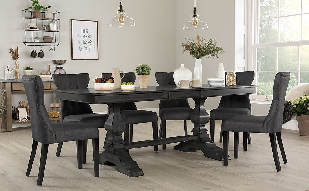 Cavendish Grey Wood Extending Dining Table with 8 Bewley Slate Fabric Chairs
