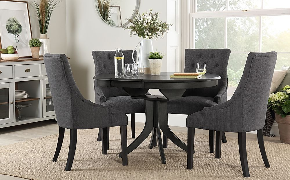 Hudson Round Grey Wood Extending Dining Table with 4 Duke Slate Chairs