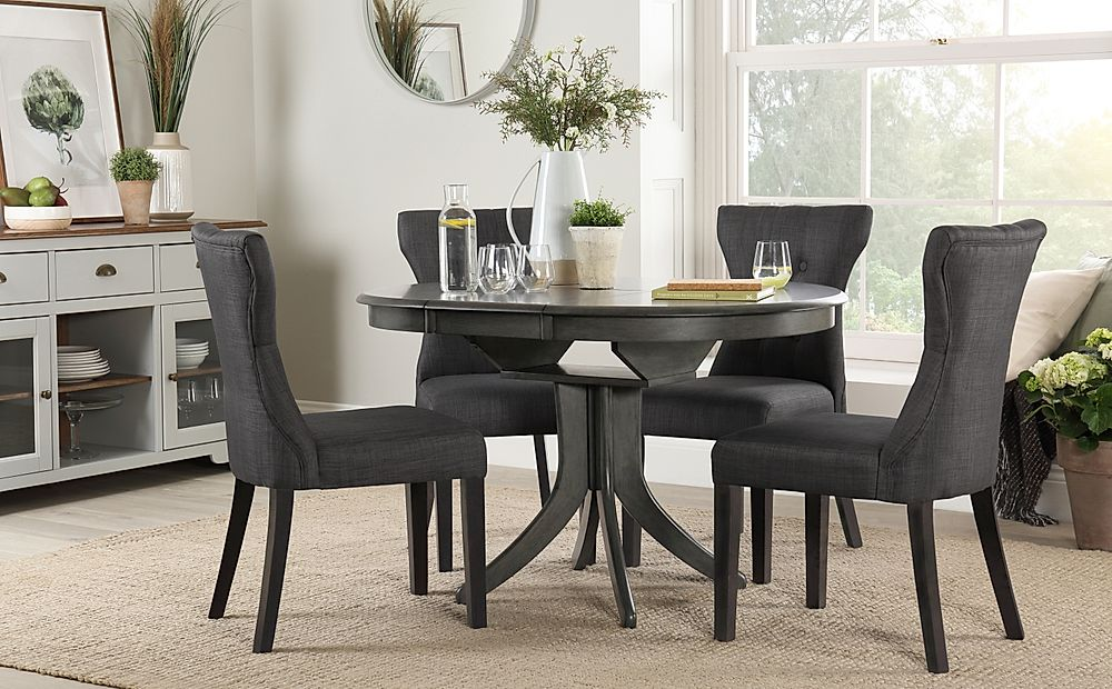 Hudson Round Grey Wood Extending Dining Table with 6 Bewley Slate Chairs