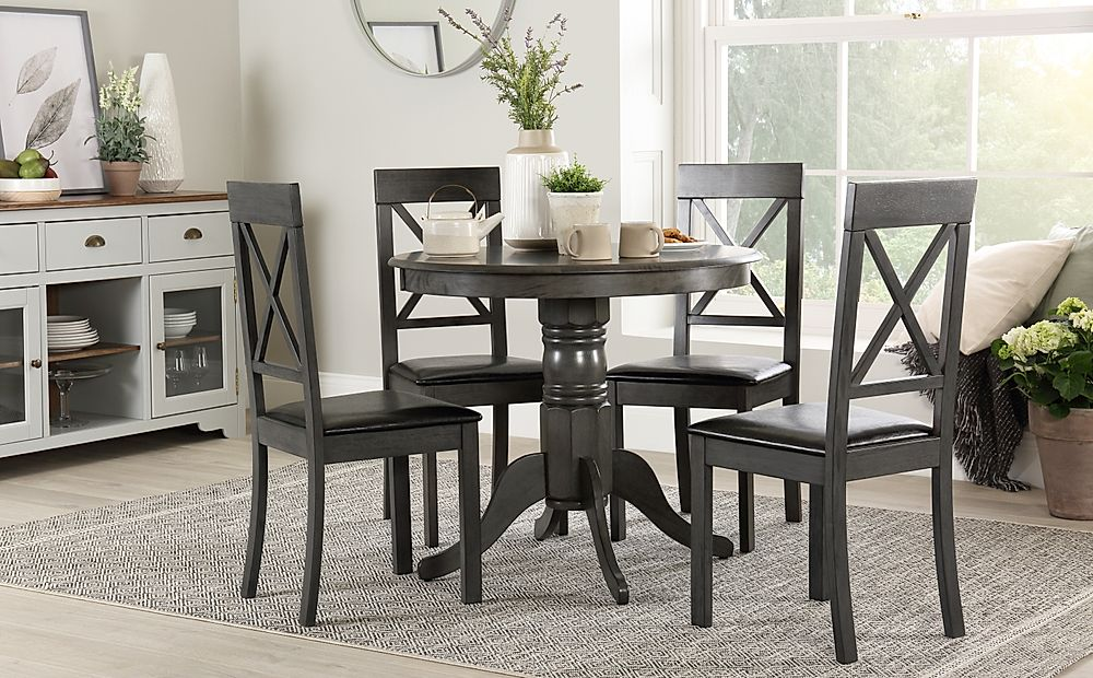 Kingston Round Grey Wood Dining Table with 4 Kendal Chairs (Black Seat Pad)