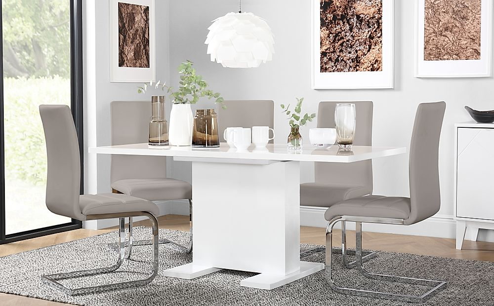 Osaka White High Gloss Extending Dining Table with 6 Perth Taupe Leather Chairs
