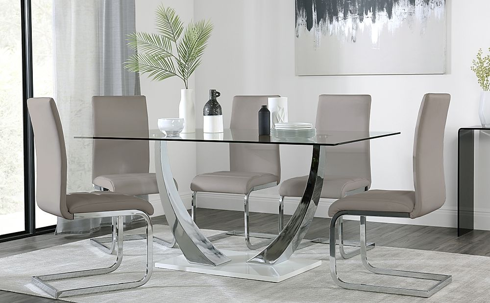 Peake Glass and Chrome Dining Table (White Gloss Base) with 4 Perth Taupe Leather Chairs