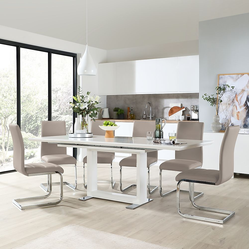 Tokyo White High Gloss Extending Dining Table with 6 Perth Taupe Leather Chairs
