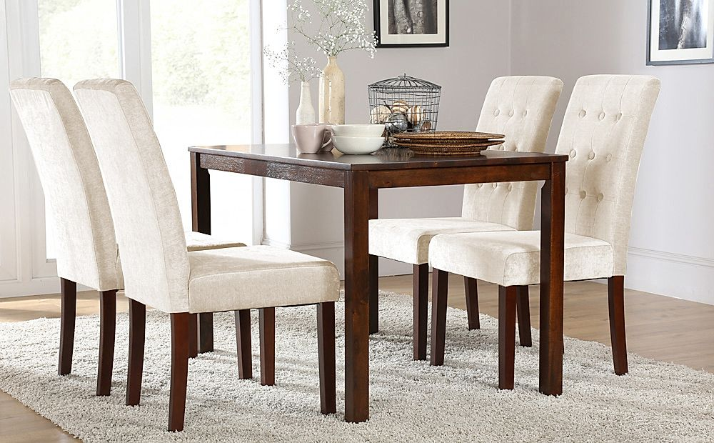 Milton Dark Wood Dining Table with 4 Regent Oatmeal Fabric Chairs