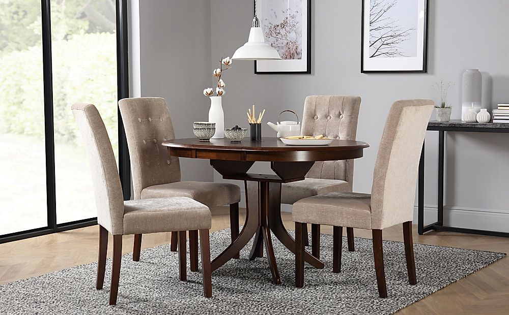 Hudson Round Dark Wood Extending Dining Table with 4 Regent Oatmeal Fabric Chairs