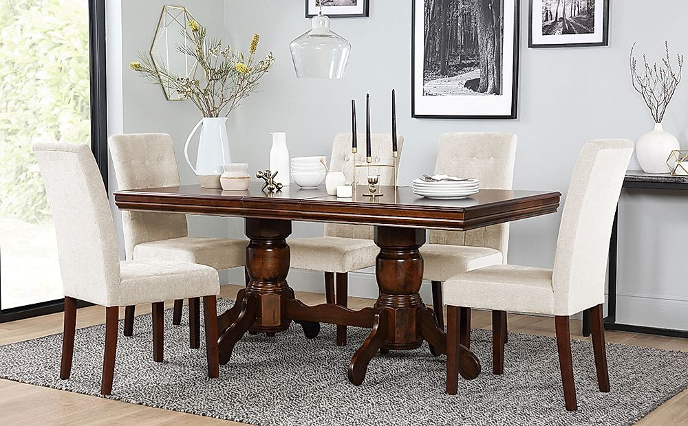 Chatsworth Dark Wood Extending Dining Table with 6 Regent Oatmeal Chairs