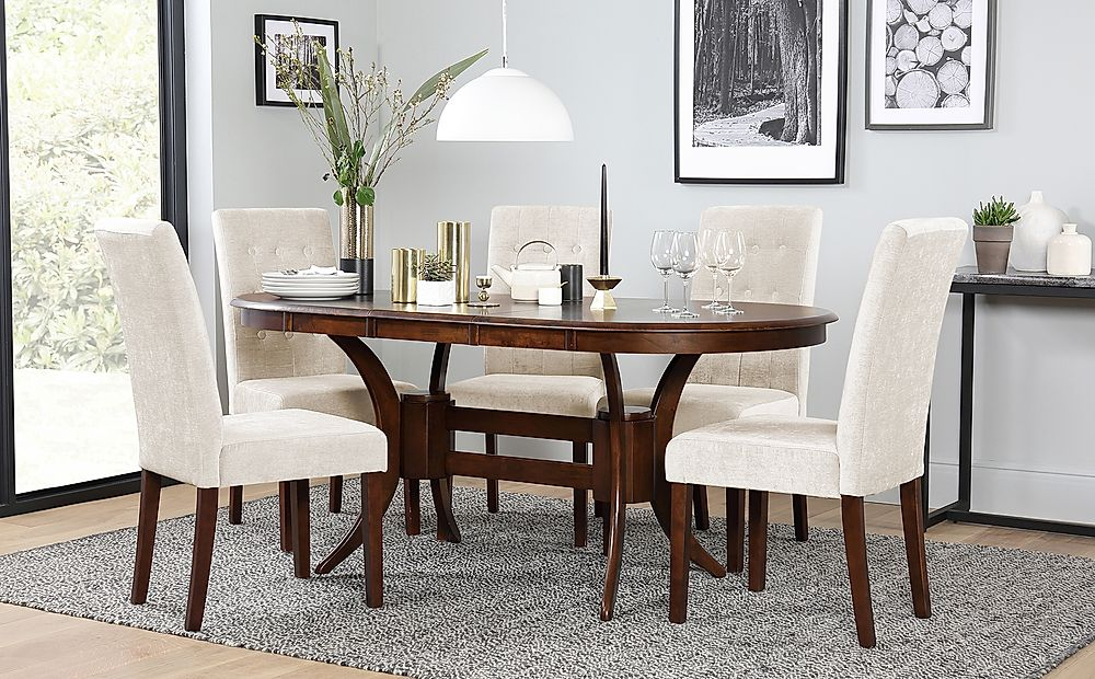 Townhouse Oval Dark Wood Extending Dining Table with 6 Regent Oatmeal Fabric Chairs