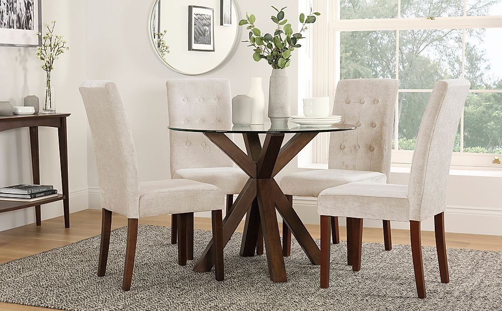 Hatton Round Walnut and Glass Dining Table with 4 Regent Oatmeal Chairs