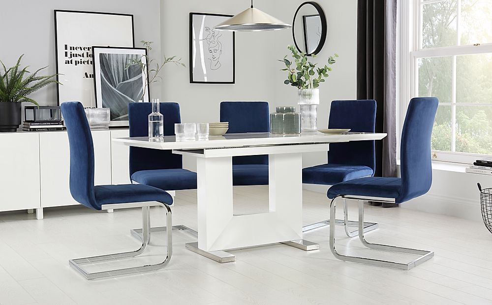 Florence White High Gloss Extending Dining Table with 4 Perth Blue Velvet Chairs