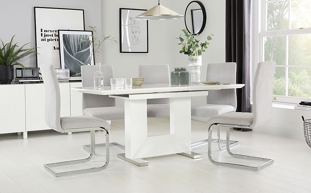 Florence White High Gloss Extending Dining Table with 6 Perth Dove Grey Fabric Chairs