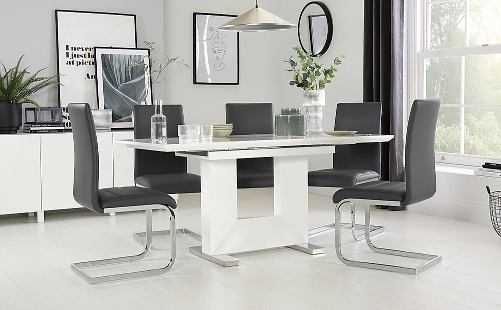 Florence White High Gloss Extending Dining Table with 4 Perth Grey Leather Chairs