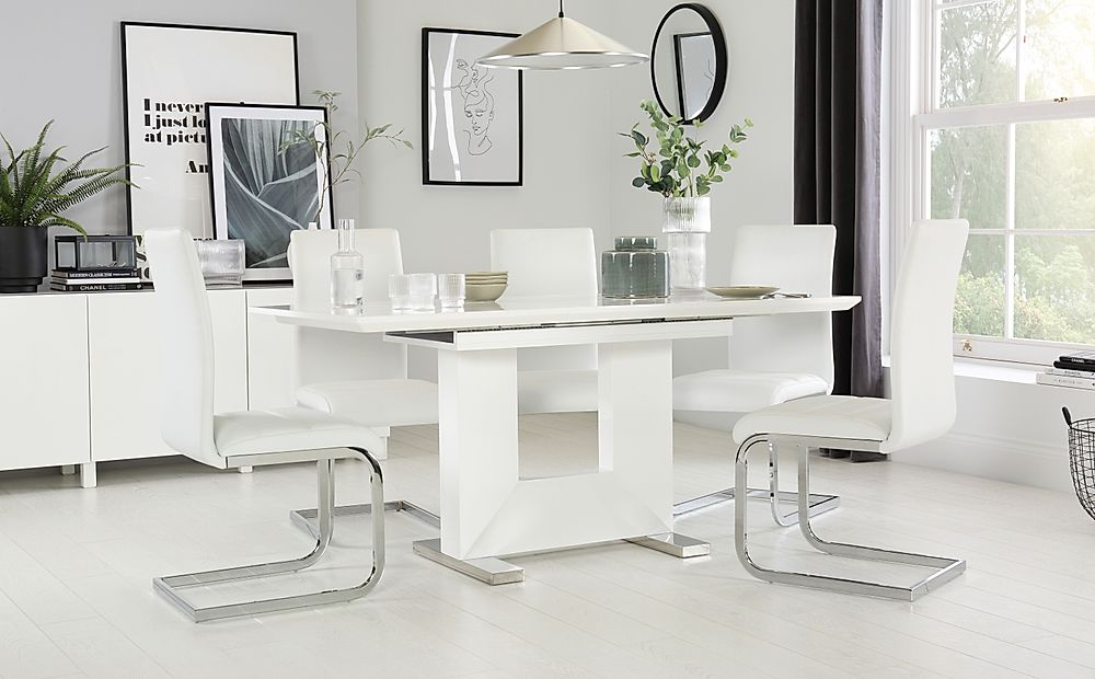 Florence White High Gloss Extending Dining Table with 4 Perth White Leather Chairs