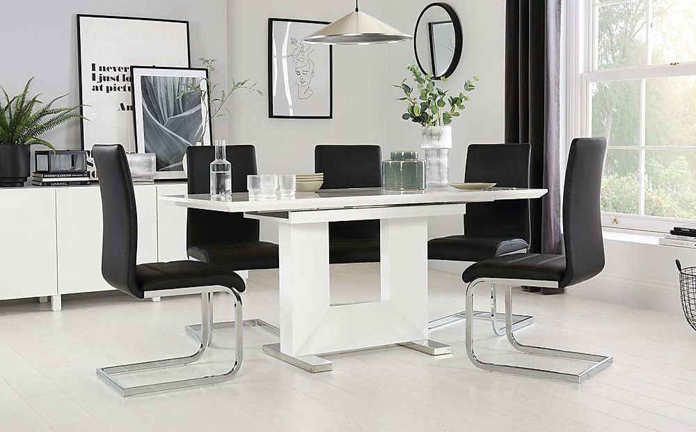 Florence White High Gloss Extending Dining Table with 4 Perth Black Leather Chairs