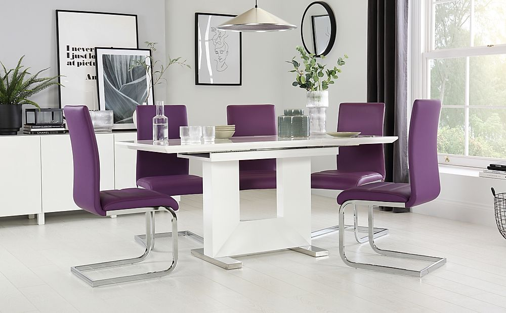 Florence White High Gloss Extending Dining Table with 6 Perth Purple Chairs