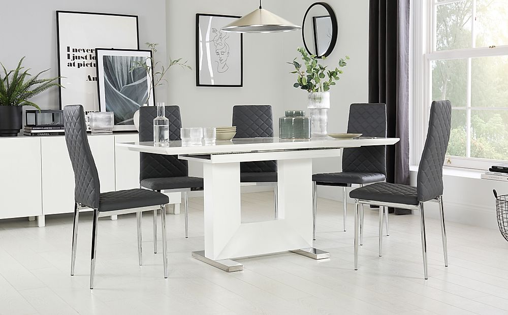 Florence White High Gloss Extending Dining Table with 4 Renzo Grey Chairs