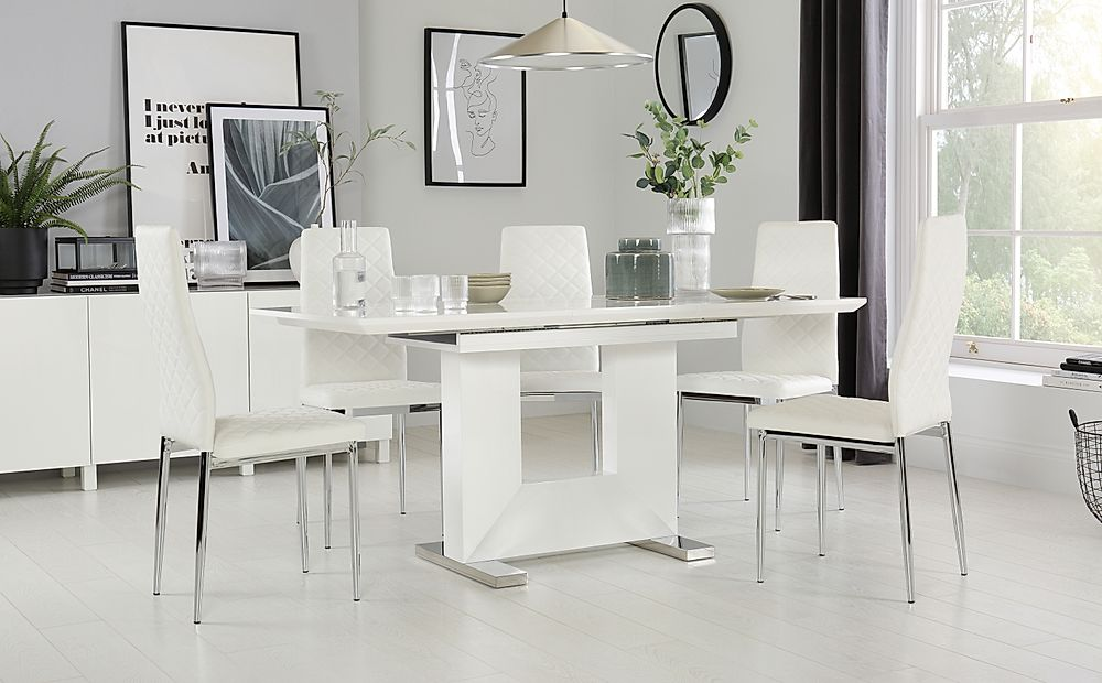 Florence White High Gloss Extending Dining Table with 6 Renzo White Chairs