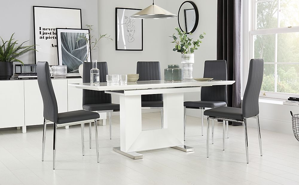 Florence White High Gloss Extending Dining Table with 6 Leon Grey Chairs